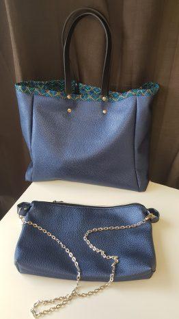 Grand sac cabas simili cuir et pochette assortie