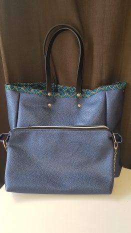 grand sac cabas simili cuir bleu nuit et pochette assortie clipsable à l'intérieur